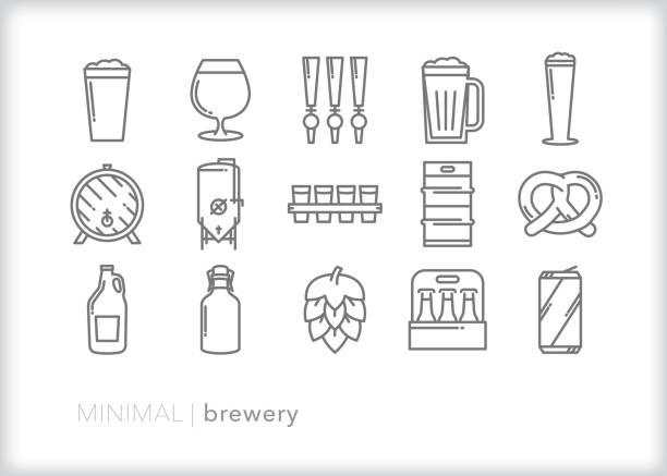 handwerk brauereiline-icon set für das brauen, servieren und kaufen von kleinen chargenbier - bierfass stock-grafiken, -clipart, -cartoons und -symbole