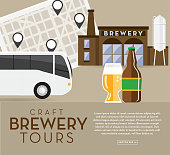 istock Craft brewery tour banner design template with placement text 1030042870