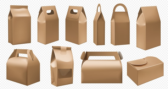 Craft food box. Cardboard lunch box and food pack