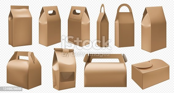istock Craft food box. Cardboard lunch box and food pack 1249826656