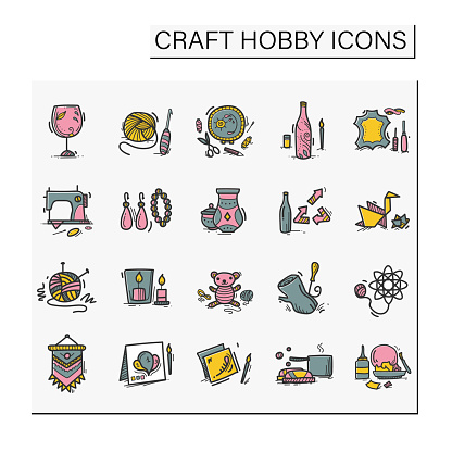 Craft hobby set hand drawn color icons