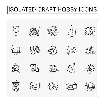 Craft hobby set hand drawn icons