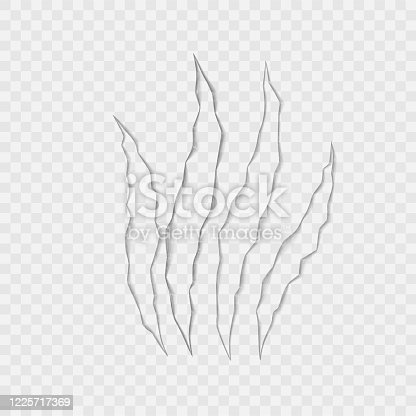 825718208 istock photo Craft of claws scratches on transparent background. Vector 1225717369
