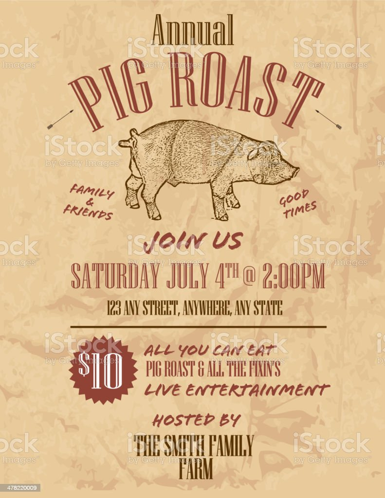 bbq craft paper background annual pig roast invitation design