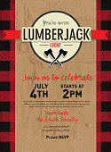 Vector illustration of a Timber Lumberjack party invitation design template. Design includes red and black color palette with wood and paper textures. Includes, crossed axes, round wordmark. Perfect for Canadian celebration, boys birthday party invitation, lumberjack, hipster or male party themes. Layers for easy editing. Sample text design.
