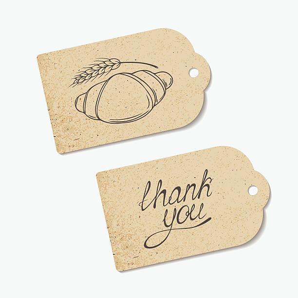 クラフト紙タグ、ありがとうレタリングとイラストの手 - 食パン点のイラスト素材/クリップアート素材/マンガ素材/アイコン素材