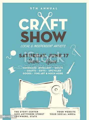 Craft show and sale poster advertisement design template includes antique sewing machine and tools, jewellry stand and pottery. Easy to edit with layers.