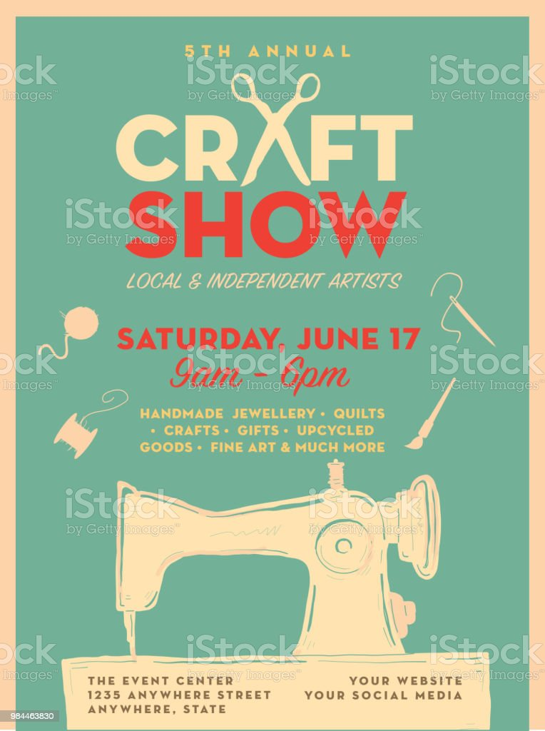 Craft Show And Sale Poster Advertisement Design Template Stock