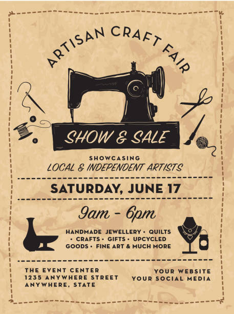 Craft show and sale poster advertisement design template vector art illustration