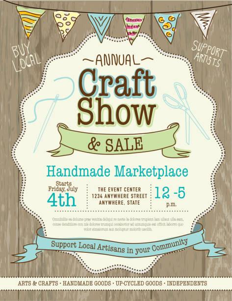 craft show und sale-poster design-vorlage - hausgemacht stock-grafiken, -clipart, -cartoons und -symbole