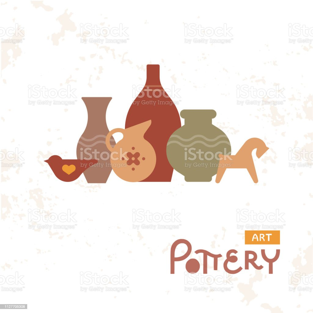 Craft Vases Pottery Of Clay Handmade Clay Pottery Workshop Artisanal Creative Craft Sign Concept Stock Illustration Download Image Now Istock