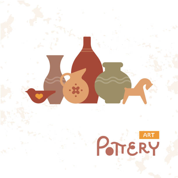 craft vases pottery of clay. handmade clay pottery workshop. artisanal creative craft sign concept. - wyrób ceramiczny stock illustrations