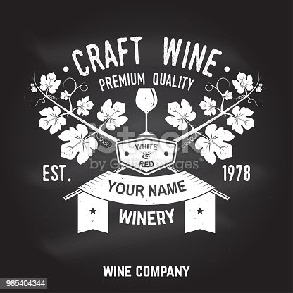 Craft Wine Winer Company Badge Sign Or Label Vector Illustration Stock Vector Art & More Images of Alcohol 965404344