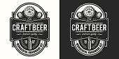 Beer label on light and dark background. Vector illustration. Vintage style