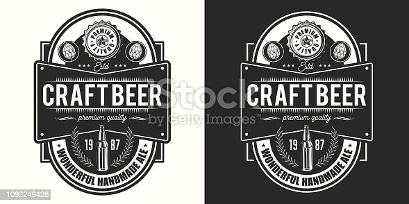 Beer label on light and dark background. Vector illustration. Vintage style
