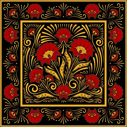 Crafted folk floral pattern vector. Square scarf design. Flower silk batik print. Template for russian shawl, ethnic tablecloth textile, khokhloma ornament casket, persian rug, vintage medallion.