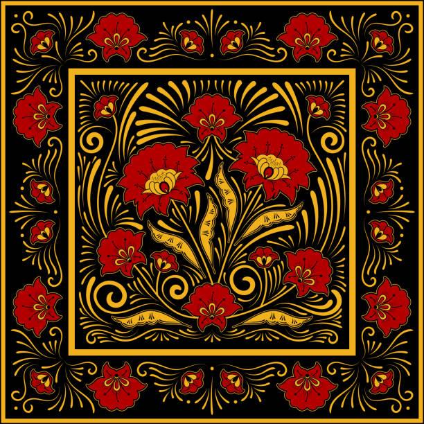 stockillustraties, clipart, cartoons en iconen met vervaardigde folk bloemmotief vector. vierkante sjaal ontwerp. bloem zijde batik afdrukken. sjabloon voor russische omslagdoek, etnische tafelkleed textiel, chochloma ornament kistje, perzisch tapijt, vintage medaillon. - indonesische cultuur