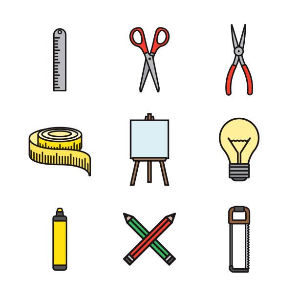 クラフト用品細い線アイコンを設定 - 細線のフォント点のイラスト素材/クリップアート素材/マンガ素材/アイコン素材