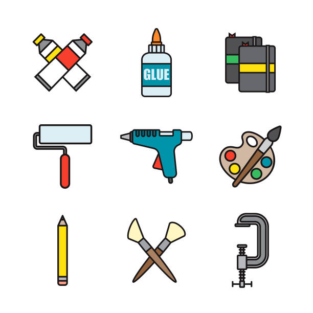 crafting supplies thin line icon set - thin line fonts stock illustrations