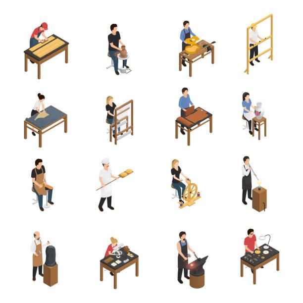 ilustraciones, imágenes clip art, dibujos animados e iconos de stock de artesano artesano gente isométrica - equipo de seguridad
