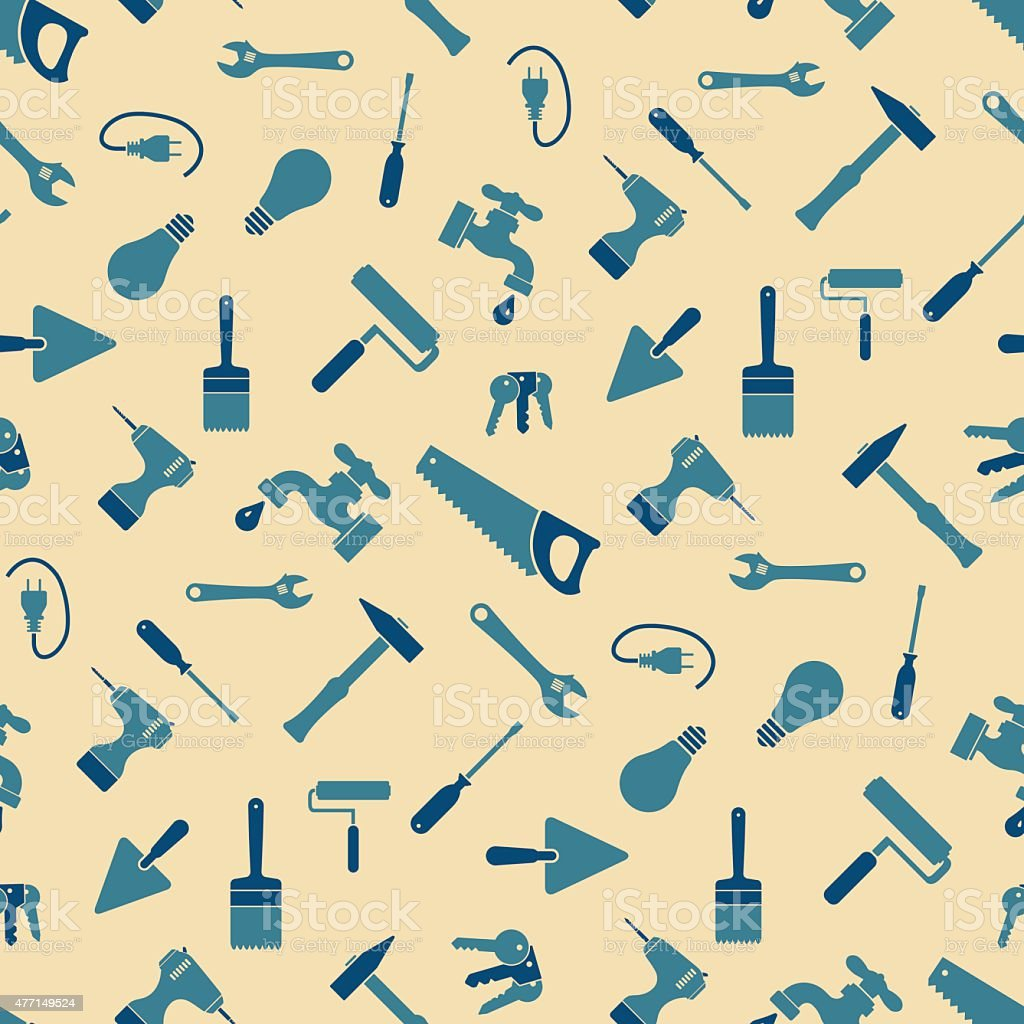 Craftsman tools pattern vector art illustration