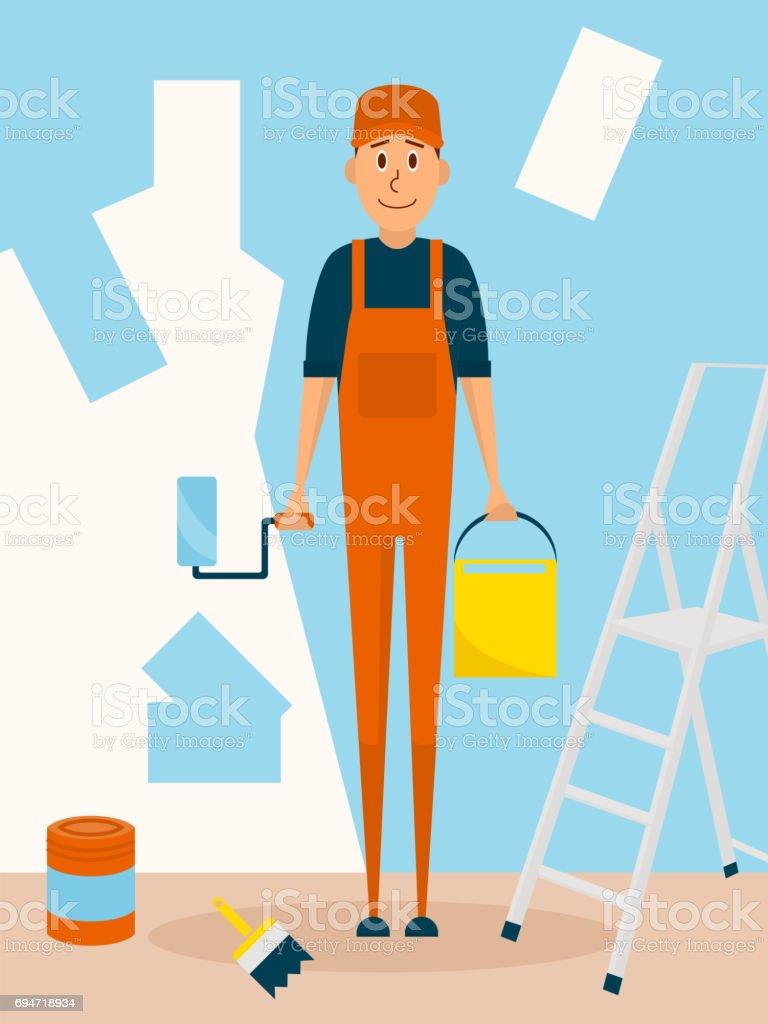 Trabalhador artesão pintar a parede. Personagem de desenho vetorial no design de estilo simples. Pintor homem detém paintroller e pintura balde - ilustração de arte em vetor