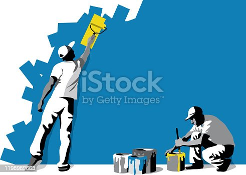 Vector illustration of workers, craftsmen painter with space for text.
