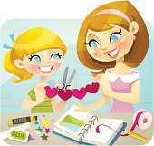 Vector illustration of a joyful mother and daughter enjoying some crafting time together. These delightful characters are great for any arts and craft related projects. Hair / eye color can be edited easily in Adobe Illustrator or similar programs.