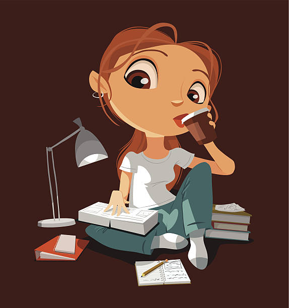 cramming - redhead stock illustrations, clip art, cartoons, & icons