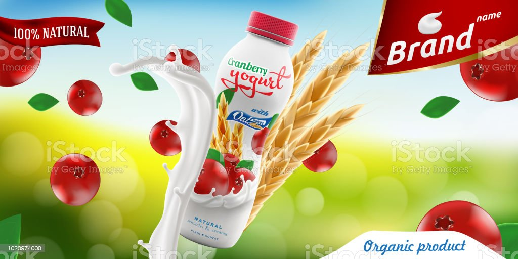 cranberry drinking yogurt bottle with oats on bright summer