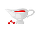 Cranberry sauce served in ceramic bowl and berries isolated icons set vector. Gravy and jam for main courses and dishes. Fruit homemade sweet liquid