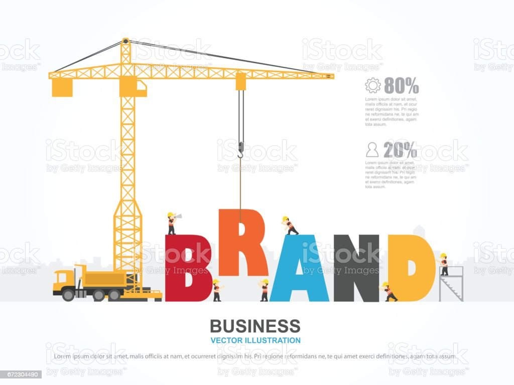 Crane And Brand Building Infographic Template Vector Illustration ...