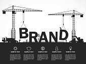 Crane and brand building. Infographic Template. Vector Illustration.