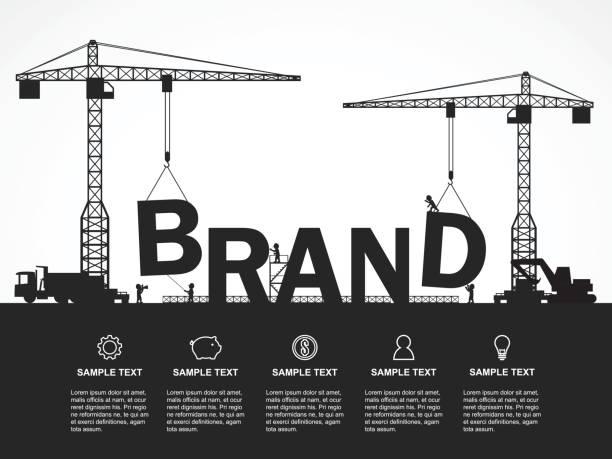 ilustrações, clipart, desenhos animados e ícones de guindaste e construção da marca. infográfico de modelo. ilustração em vetor. - infográficos de site