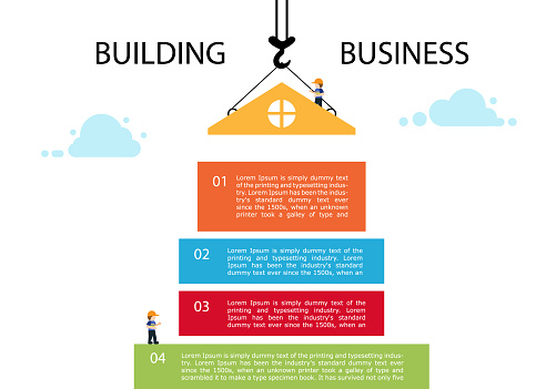 Crane and building block. Infographic template building business.