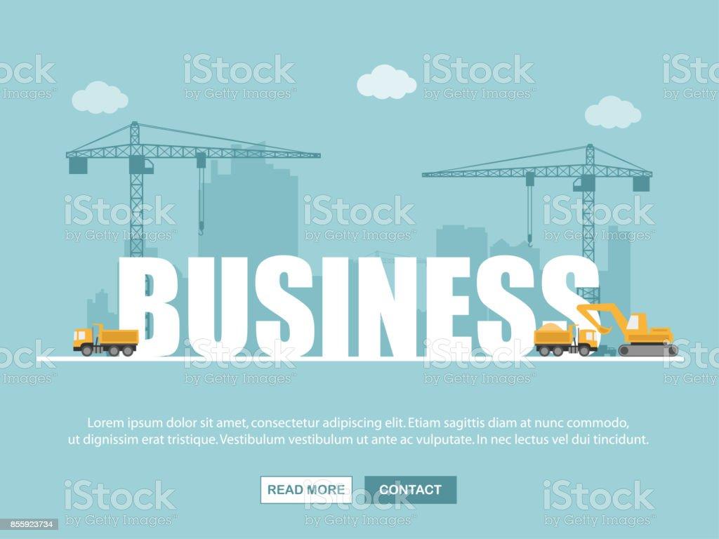 Guindaste e edifício do negócio. Infográfico de modelo. Ilustração em vetor. - ilustração de arte em vetor