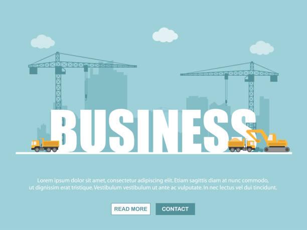 ilustrações, clipart, desenhos animados e ícones de guindaste e edifício do negócio. infográfico de modelo. ilustração em vetor. - infográficos de site