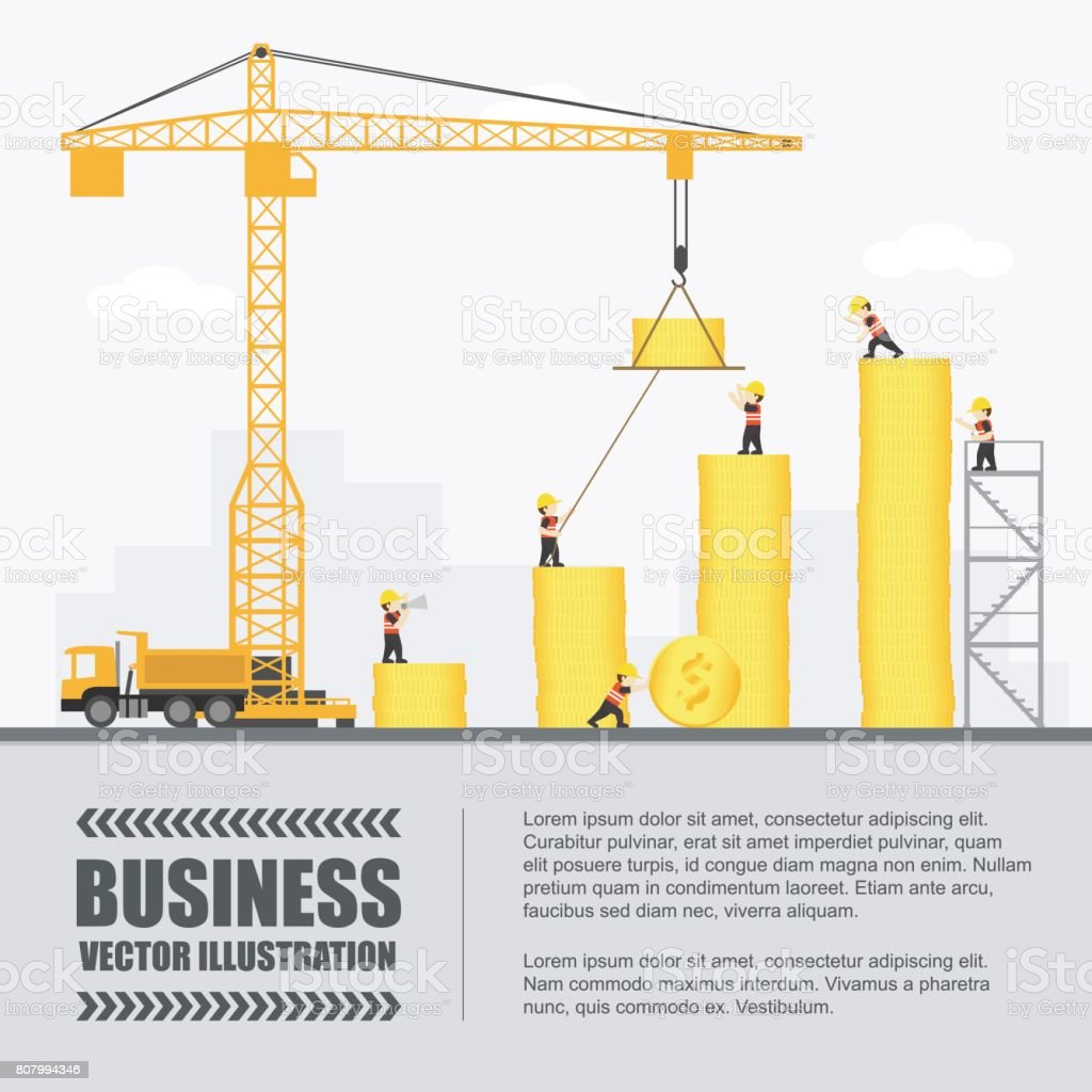 Crane And Coin Building Infographic Template Vector Illustration ...