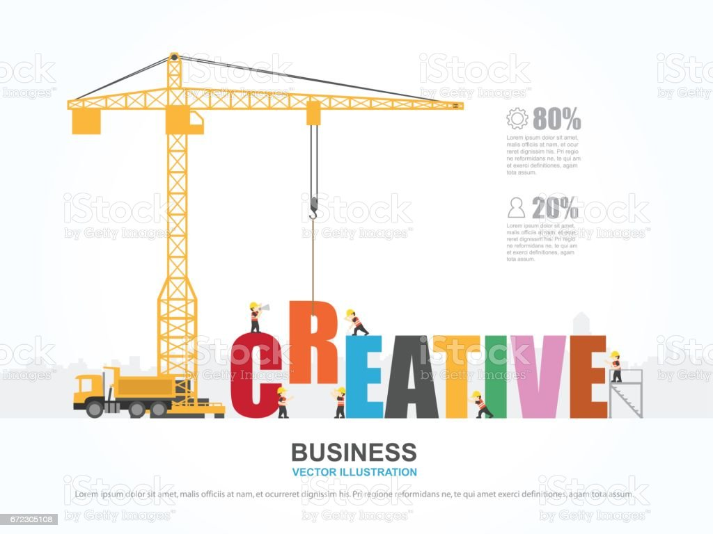 Crane and creative building. Infographic Template. Vector Illustration. vector art illustration