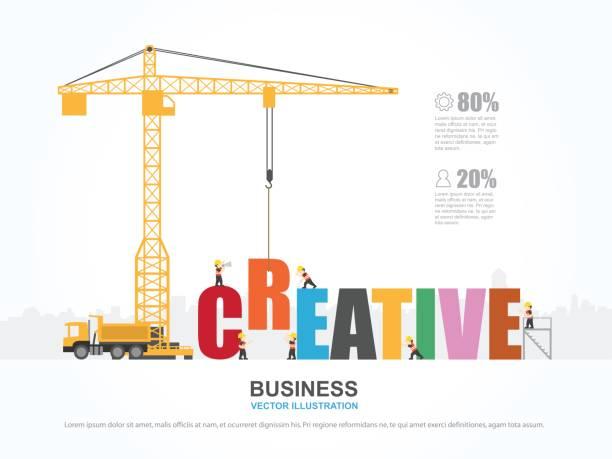 ilustrações, clipart, desenhos animados e ícones de guindaste e construção criativa. infográfico de modelo. ilustração em vetor. - infográficos de site