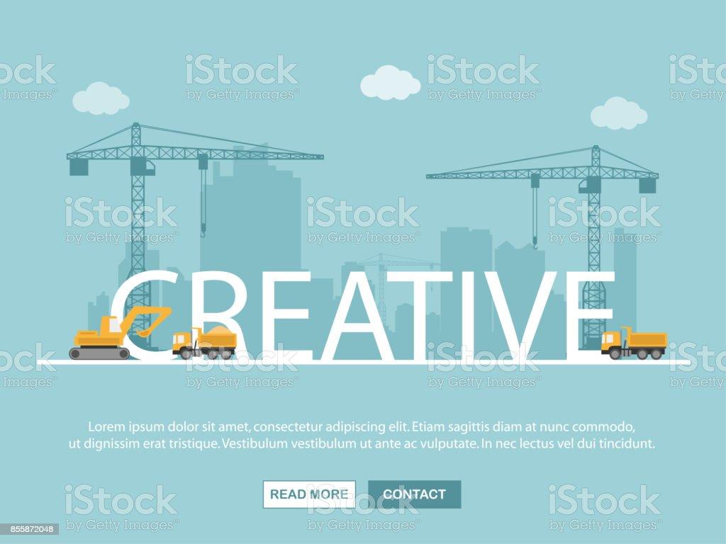 Kran und kreative Gebäude. Infografik-Vorlage. Vektor-Illustration. – Vektorgrafik