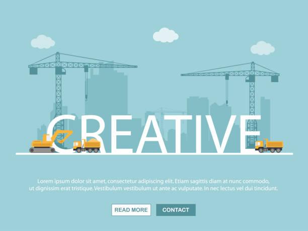 illustrations, cliparts, dessins animés et icônes de grue et des capacités créatives. modèle de l'infographie. illustration vectorielle. - chantier