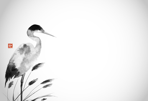 Crane and leaves of grass in fog. Traditional oriental ink painting sumi-e, u-sin, go-hua. Translation of hieroglyph - silence