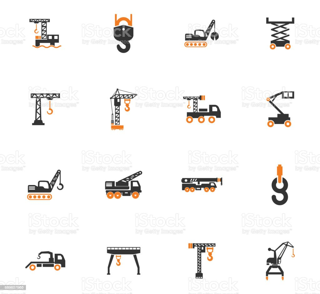 Crane and lifing machines icon set vector art illustration