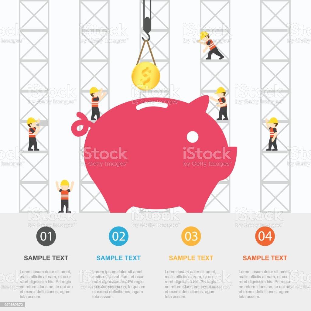 Grúa Y Creación De Dinero Plantilla De Infografía Ilustración De ...