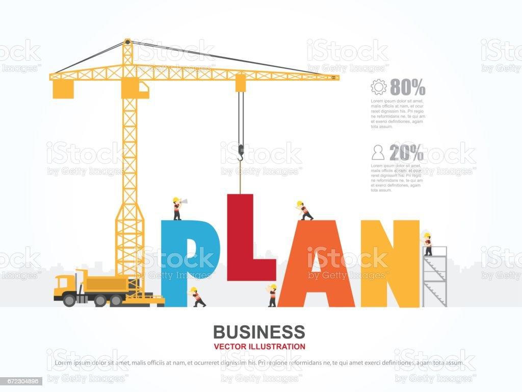Kran und Plan-Gebäude. Infografik-Vorlage. Vektor-Illustration. – Vektorgrafik