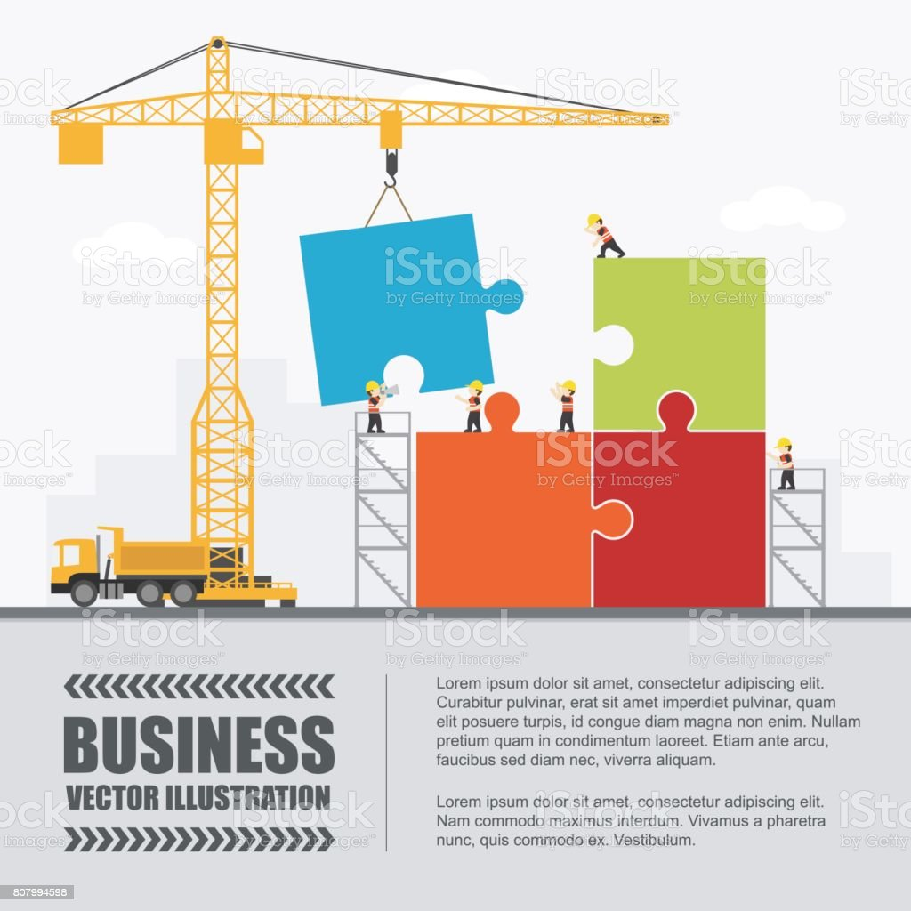 Crane and puzzle building. Infographic Template. Vector Illustration. vector art illustration