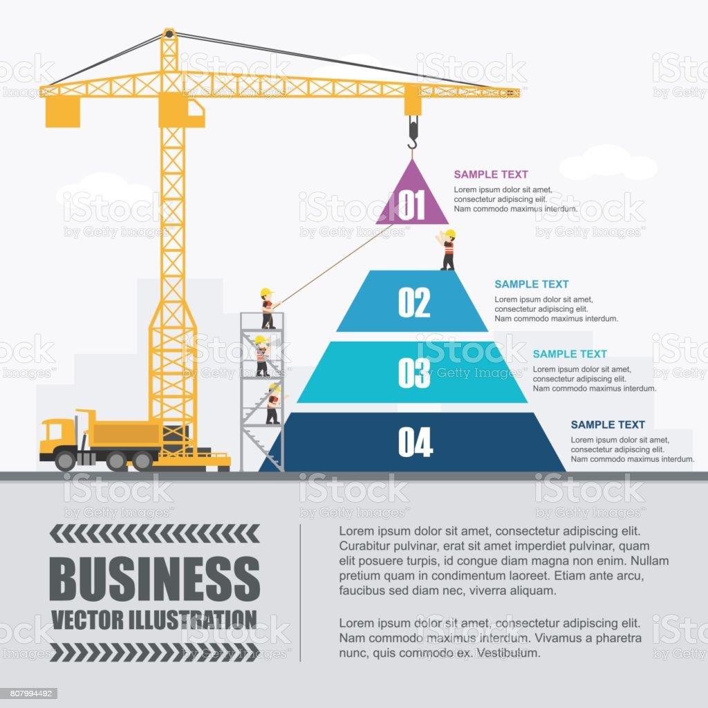 Guindaste e construção da pirâmide. Infográfico de modelo. Ilustração em vetor. - ilustração de arte em vetor