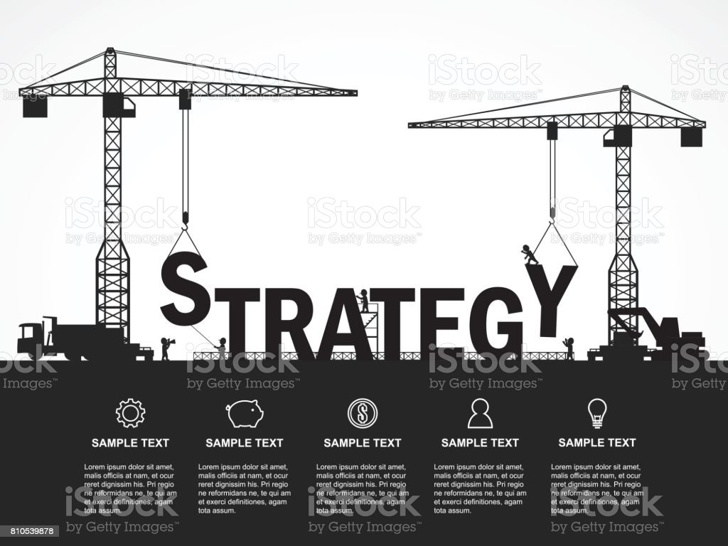 Crane and strategy building. Infographic Template. Vector Illustration. vector art illustration