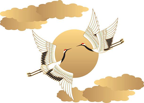 crane and sun.  japanese-style. - kranich stock-grafiken, -clipart, -cartoons und -symbole